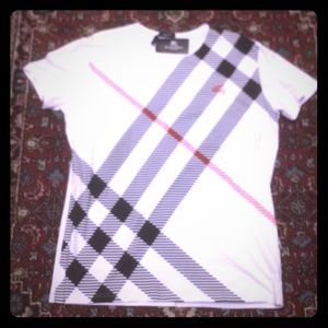 NWT BURBERRY White and plaid T-shirt size large